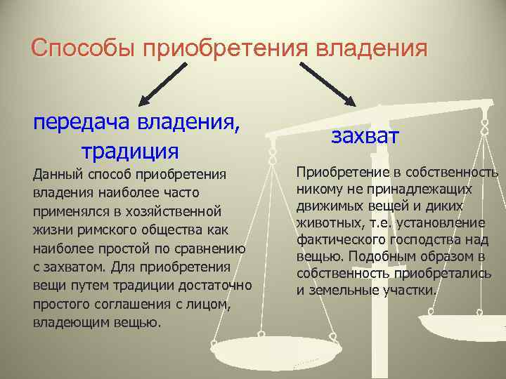 Способы приобретения владения передача владения, традиция Данный способ приобретения владения наиболее часто применялся в