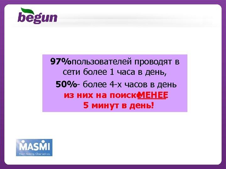 97%пользователей проводят в сети более 1 часа в день, 50%- более 4 -х часов