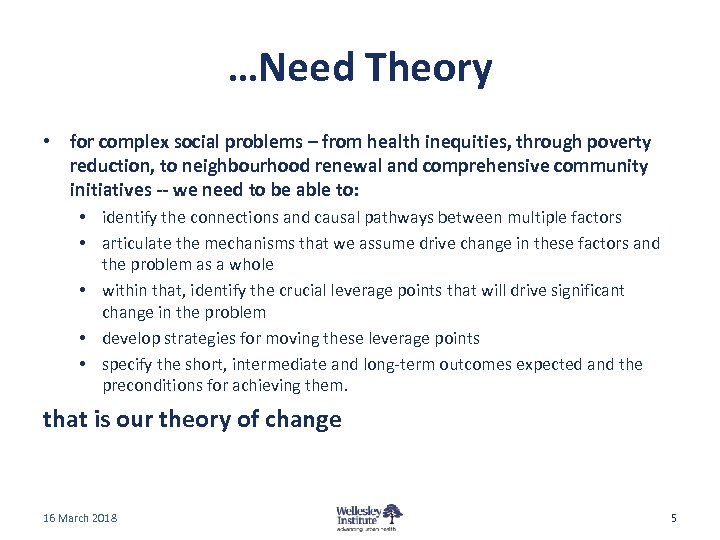 …Need Theory • for complex social problems – from health inequities, through poverty reduction,
