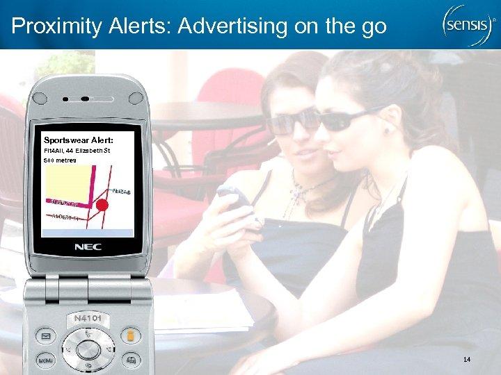 Proximity Alerts: Advertising on the go Sportswear Alert: Fit 4 All, 44 Elizabeth St