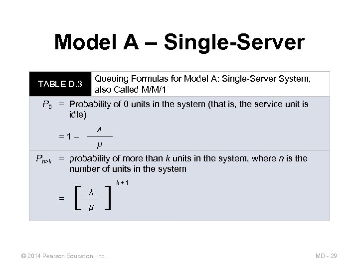 Model A – Single-Server Queuing Formulas for Model A: Single-Server System, also Called M/M/1