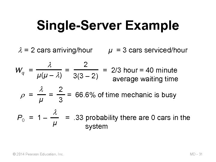 Single-Server Example = 2 cars arriving/hour Wq = µ(µ – ) = µ =