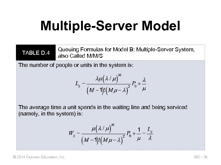 Multiple-Server Model TABLE D. 4 Queuing Formulas for Model B: Multiple-Server System, also Called