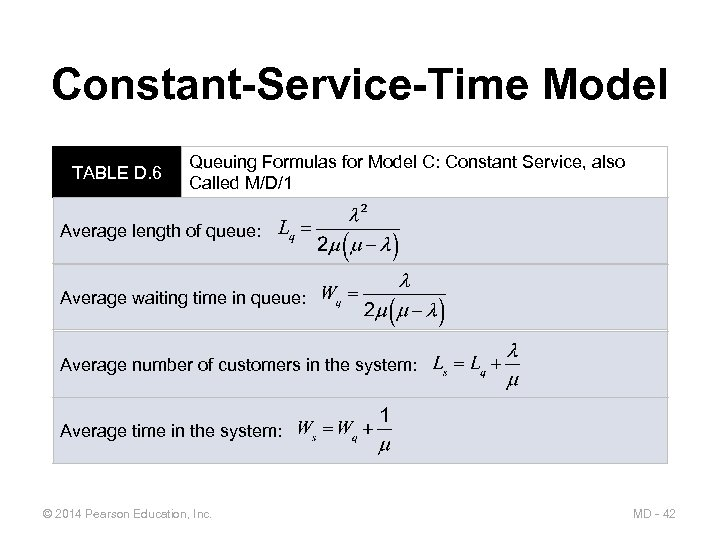Constant-Service-Time Model TABLE D. 6 Queuing Formulas for Model C: Constant Service, also Called