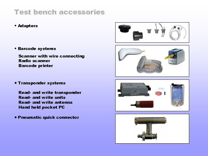 Test bench accessories • Adapters • Barcode systems Scanner with wire connecting Radio scanner