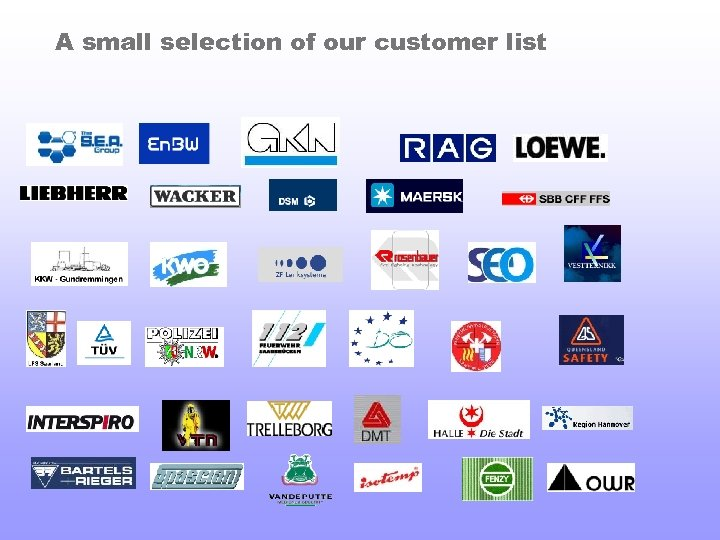 A small selection of our customer list