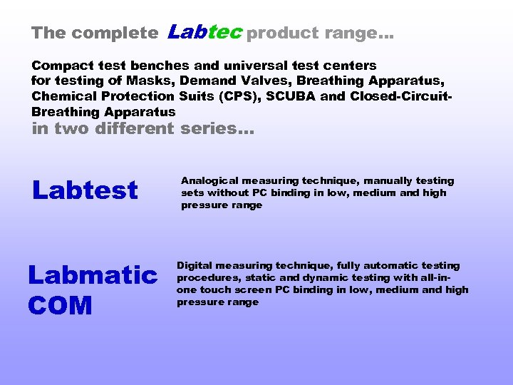 The complete Labtec product range… Compact test benches and universal test centers for testing