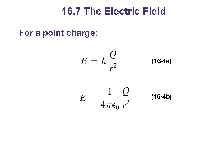 16. 7 The Electric Field For a point charge: (16 -4 a) (16 -4