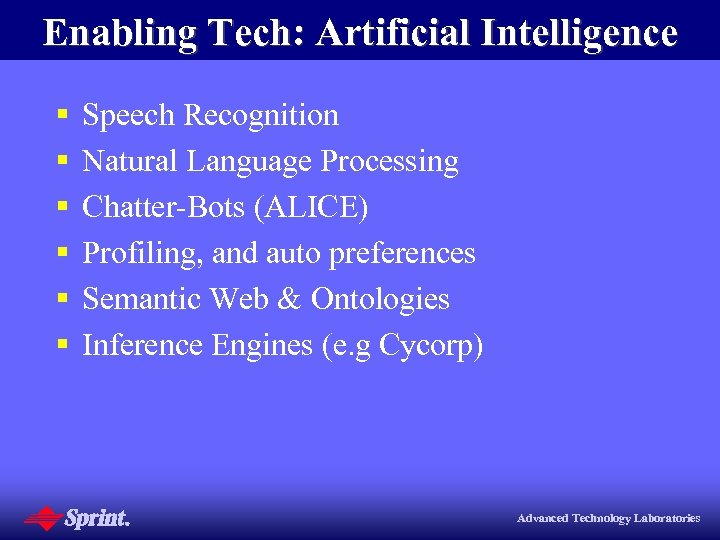 Enabling Tech: Artificial Intelligence § § § Speech Recognition Natural Language Processing Chatter-Bots (ALICE)