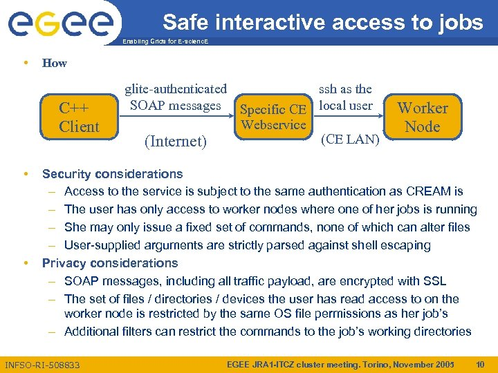 Safe interactive access to jobs Enabling Grids for E-scienc. E • How C++ Client