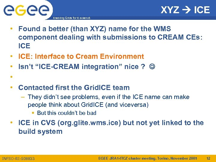 XYZ ICE Enabling Grids for E-scienc. E • Found a better (than XYZ) name