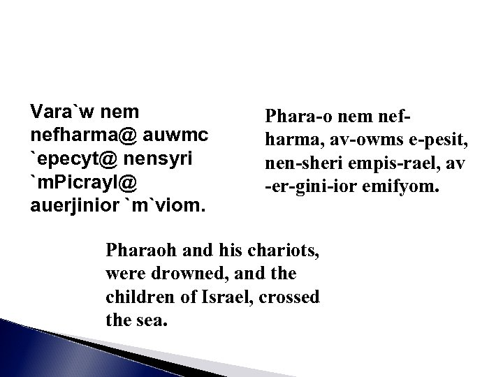 Vara`w nem nefharma@ auwmc `epecyt@ nensyri `m. Picrayl@ auerjinior `m`viom. Phara-o nem nefharma, av-owms