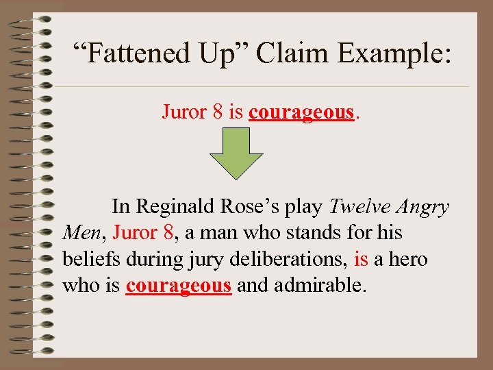 """""""Fattened Up"""" Claim Example: Juror 8 is courageous. In Reginald Rose's play Twelve Angry"""
