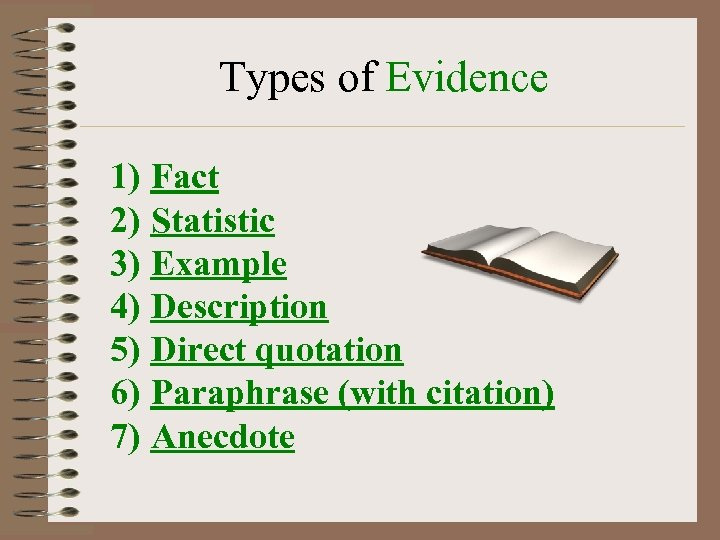 Types of Evidence 1) Fact 2) Statistic 3) Example 4) Description 5) Direct quotation