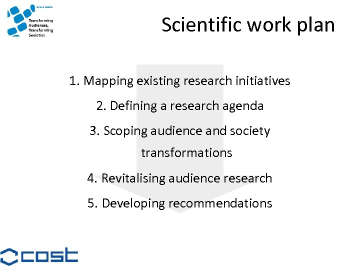 Scientific work plan 1. Mapping existing research initiatives 2. Defining a research agenda 3.