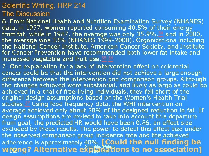 Scientific Writing, HRP 214 The Discussion 6. From National Health and Nutrition Examination Survey