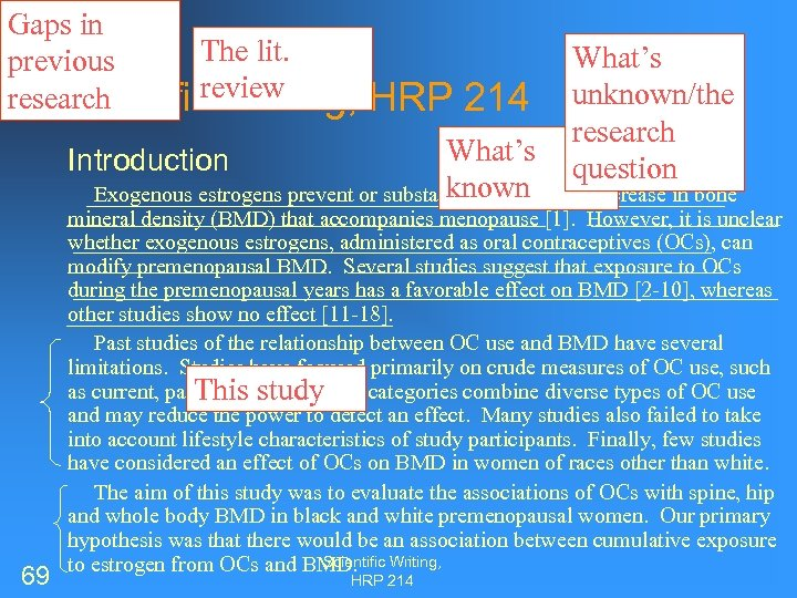 Gaps in The lit. previous review research Scientific Writing, HRP 214 What's unknown/the research