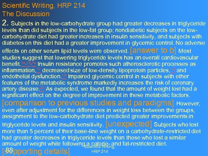 Scientific Writing, HRP 214 The Discussion 2. Subjects in the low-carbohydrate group had greater
