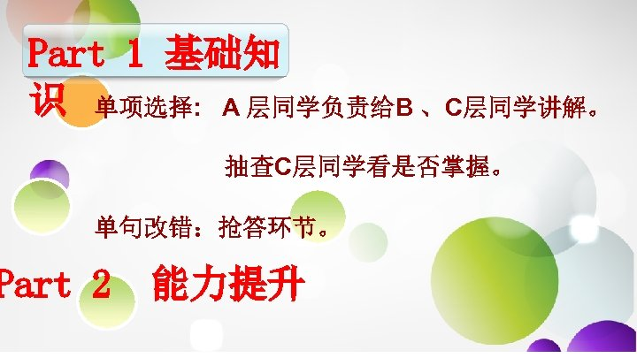 Part 1 基础知 识 单项选择: A 层同学负责给B 、C层同学讲解。 抽查C层同学看是否掌握。 单句改错:抢答环节。 Part 2 能力提升