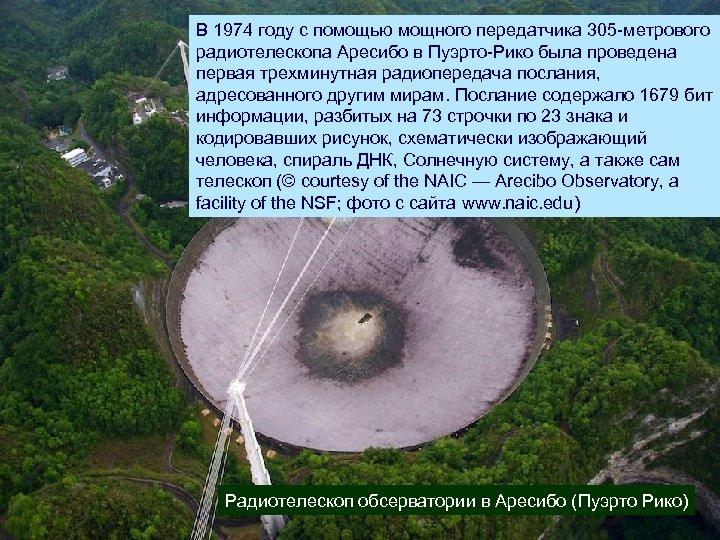 В 1974 году с помощью мощного передатчика 305 -метрового радиотелескопа Аресибо в Пуэрто-Рико была