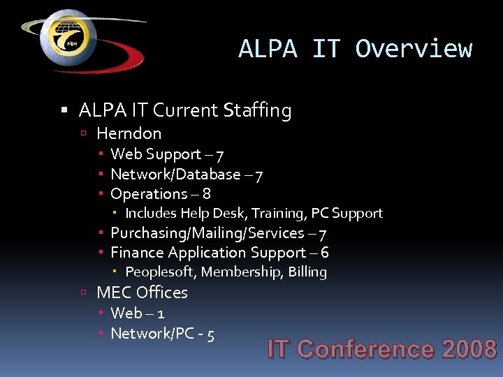 ALPA IT Overview ALPA IT Current Staffing Herndon Web Support – 7 Network/Database –