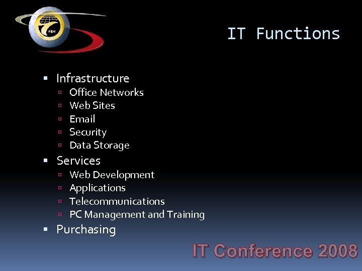 IT Functions Infrastructure Office Networks Web Sites Email Security Data Storage Services Web Development