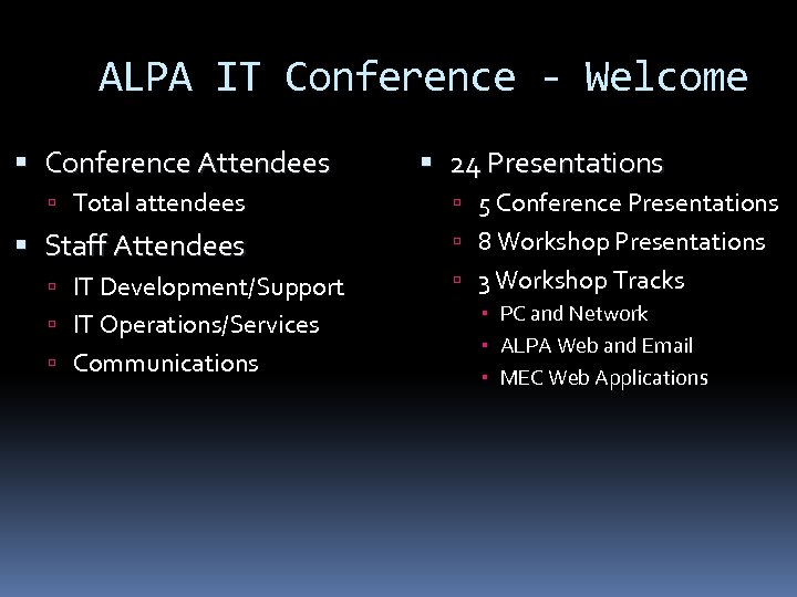 ALPA IT Conference - Welcome Conference Attendees Total attendees Staff Attendees IT Development/Support IT