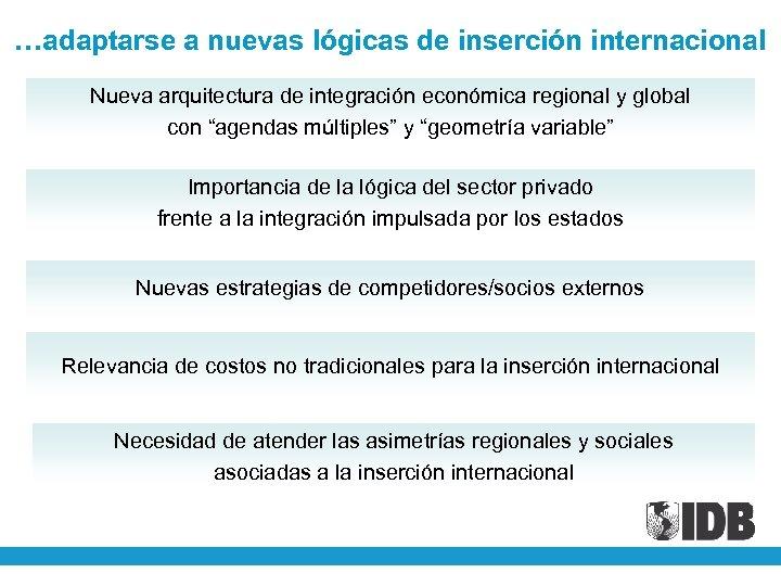 …adaptarse a nuevas lógicas de inserción internacional Nueva arquitectura de integración económica regional y