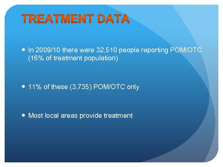 In 2009/10 there were 32, 510 people reporting POM/OTC (16% of treatment population)