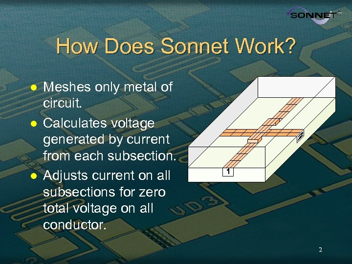 How Does Sonnet Work? l l l Meshes only metal of circuit. Calculates voltage