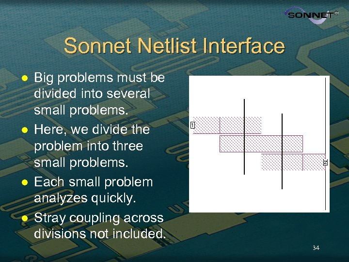 Sonnet Netlist Interface l l Big problems must be divided into several small problems.