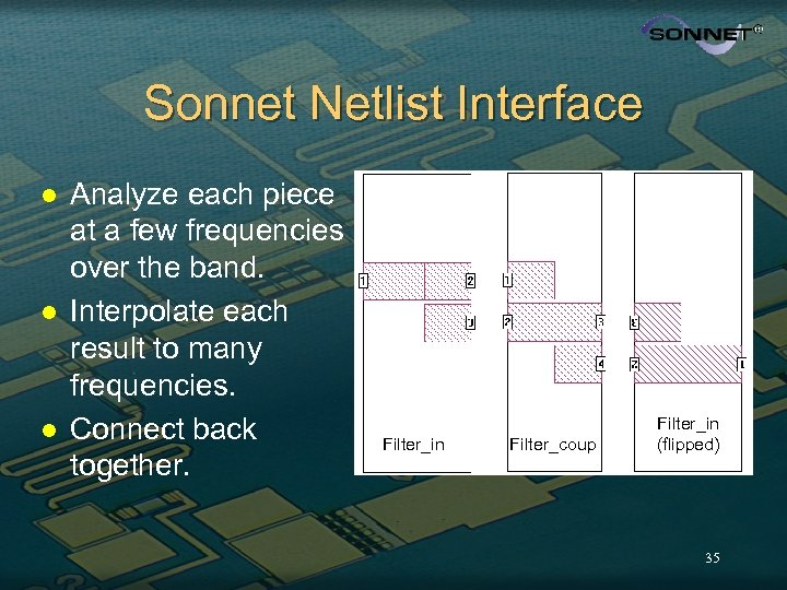 Sonnet Netlist Interface l l l Analyze each piece at a few frequencies over