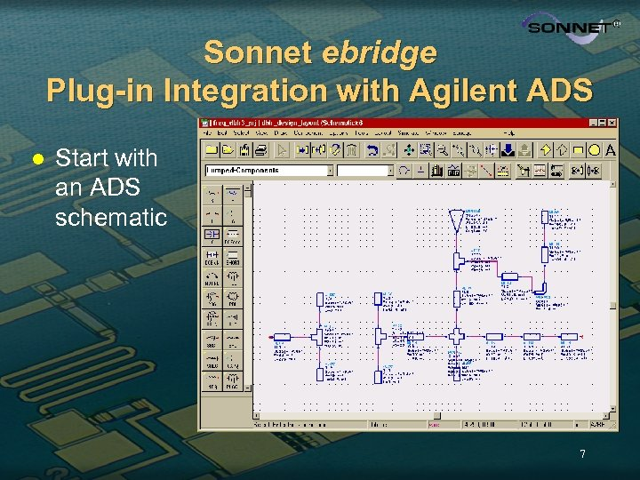 Sonnet ebridge Plug-in Integration with Agilent ADS l Start with an ADS schematic 7
