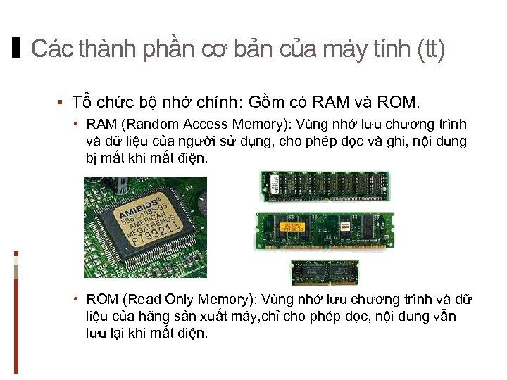 Các thành phần cơ bản của máy tính (tt) § Tổ chức bộ nhớ