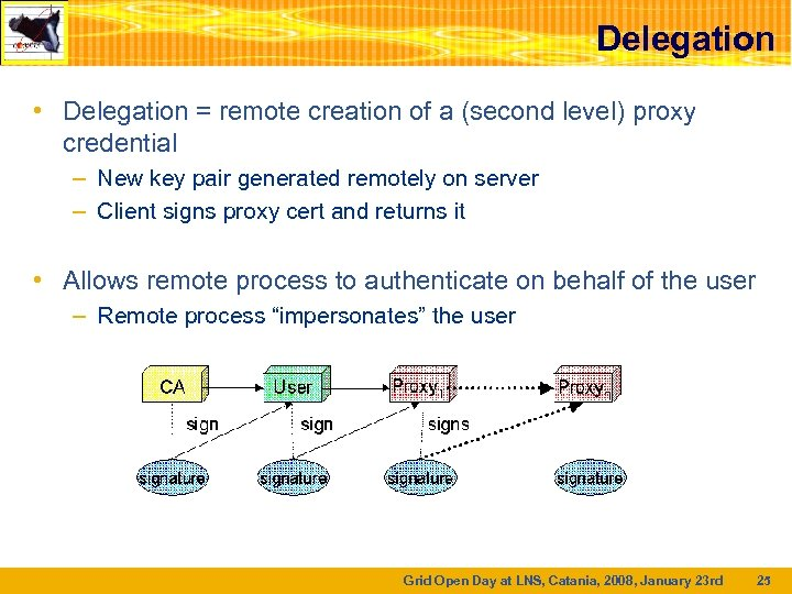 Delegation • Delegation = remote creation of a (second level) proxy credential – New