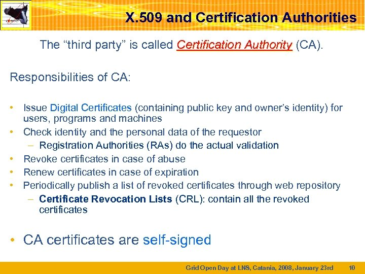 "X. 509 and Certification Authorities The ""third party"" is called Certification Authority (CA). Responsibilities"