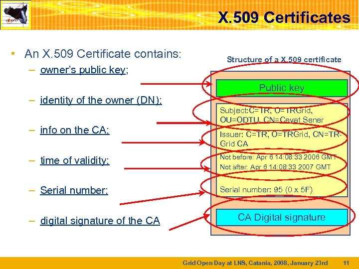 X. 509 Certificates • An X. 509 Certificate contains: – owner's public key; –