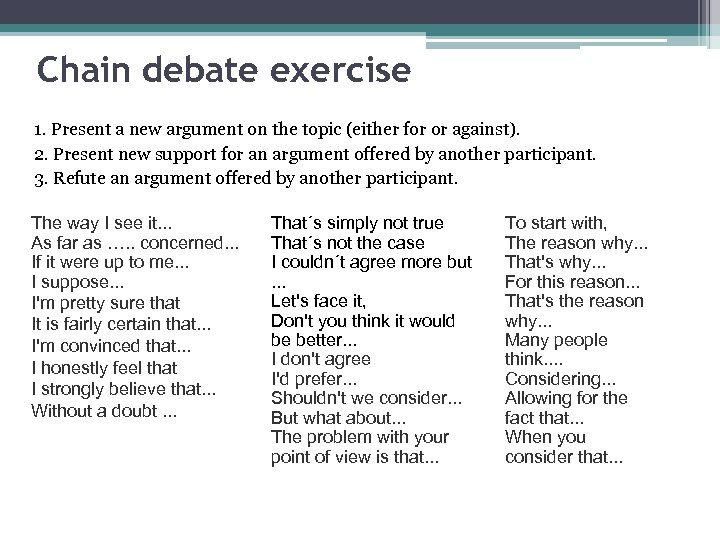 Chain debate exercise 1. Present a new argument on the topic (either for or