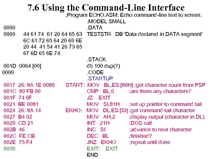 7. 6 Using the Command-Line Interface 0000 001 D 0000 0017 001 C 001