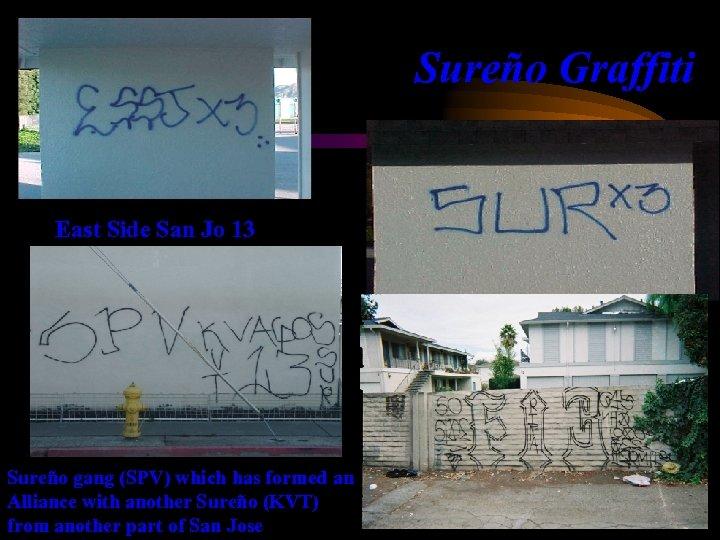 Sureño Graffiti East Side San Jo 13 Sureño gang (SPV) which has formed an