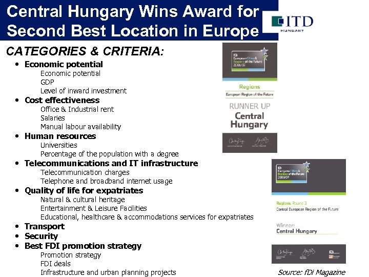 Central Hungary Wins Award for Second Best Location in Europe CATEGORIES & CRITERIA: •