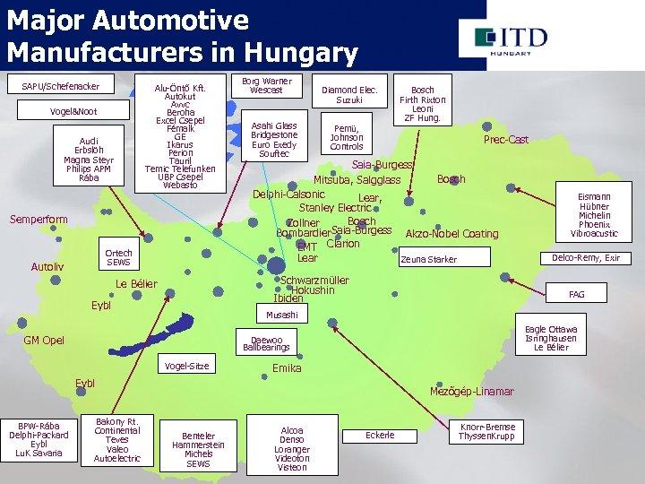 Major Automotive Manufacturers in Hungary SAPU/Schefenacker Alu-Öntő Kft. Autokut Avvc Beroha Excel Csepel Fémalk