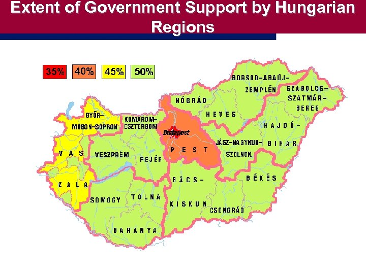 Extent of Government Support by Hungarian Regions
