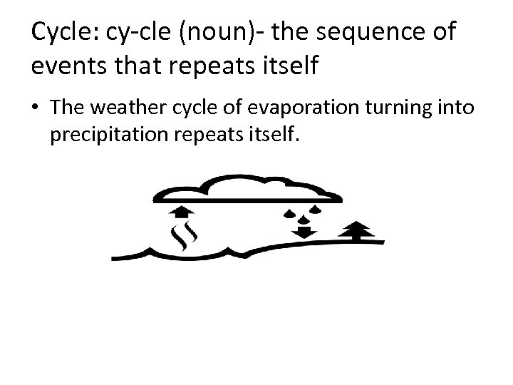 Cycle: cy-cle (noun)- the sequence of events that repeats itself • The weather cycle