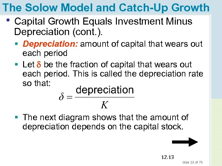 The Solow Model and Catch-Up Growth • Capital Growth Equals Investment Minus Depreciation (cont.