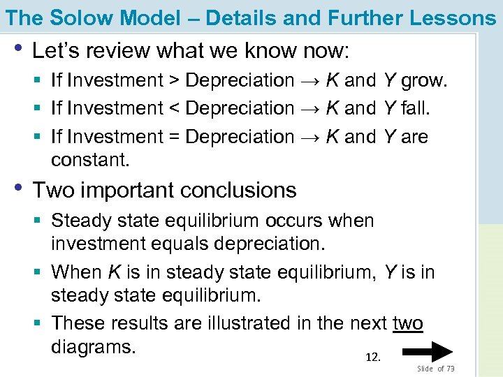 The Solow Model – Details and Further Lessons • Let's review what we know