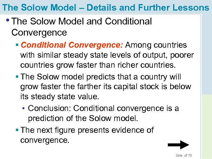 The Solow Model – Details and Further Lessons • The Solow Model and Conditional