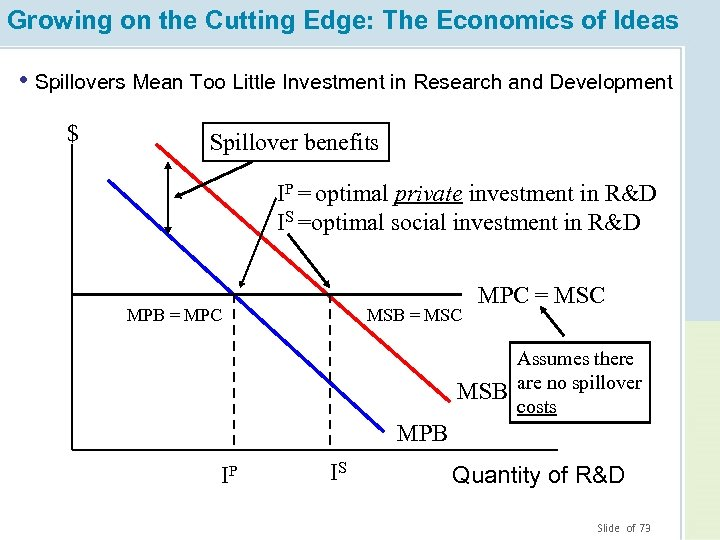 Growing on the Cutting Edge: The Economics of Ideas • Spillovers Mean Too Little