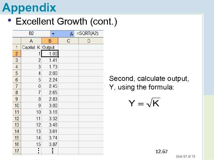 Appendix • Excellent Growth (cont. ) Second, calculate output, Y, using the formula: 12.