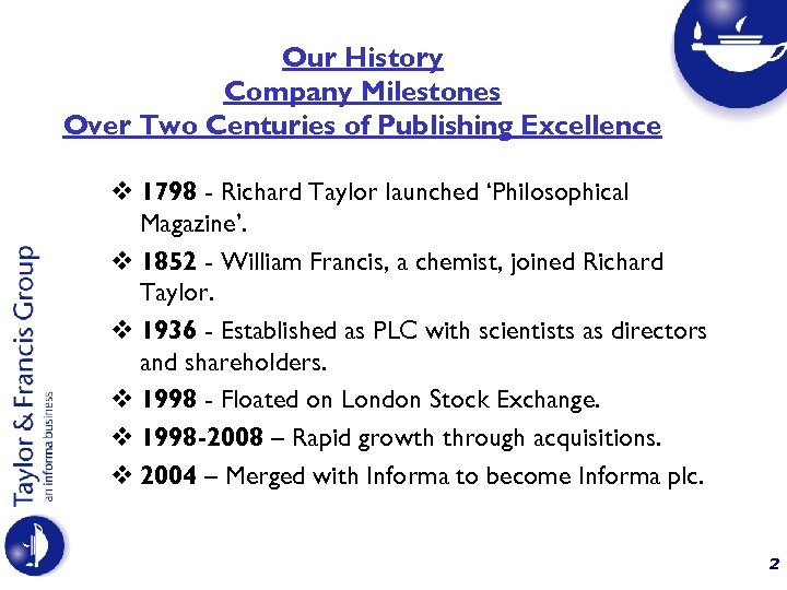 Our History Company Milestones Over Two Centuries of Publishing Excellence v 1798 - Richard
